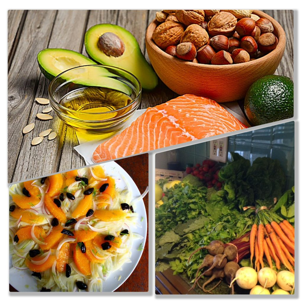 Collage of foods and recipes in Fit for Golf-Set for Life