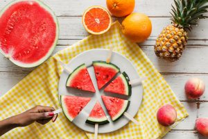 Watermelon, oranges, pineapples, and peaches, photo by rawpixel